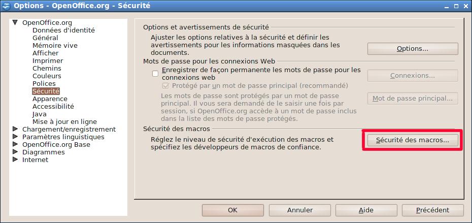 Configuration des options de sécurité